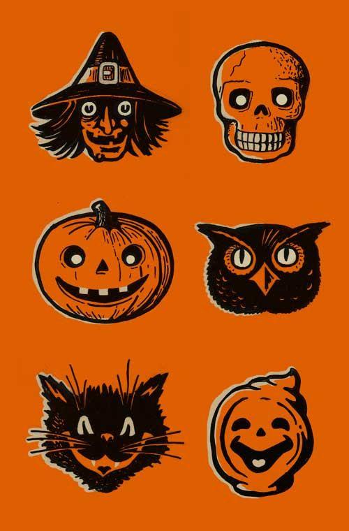 Screenprinted Halloween Poster  vintage inspired by FoolsErrandInk