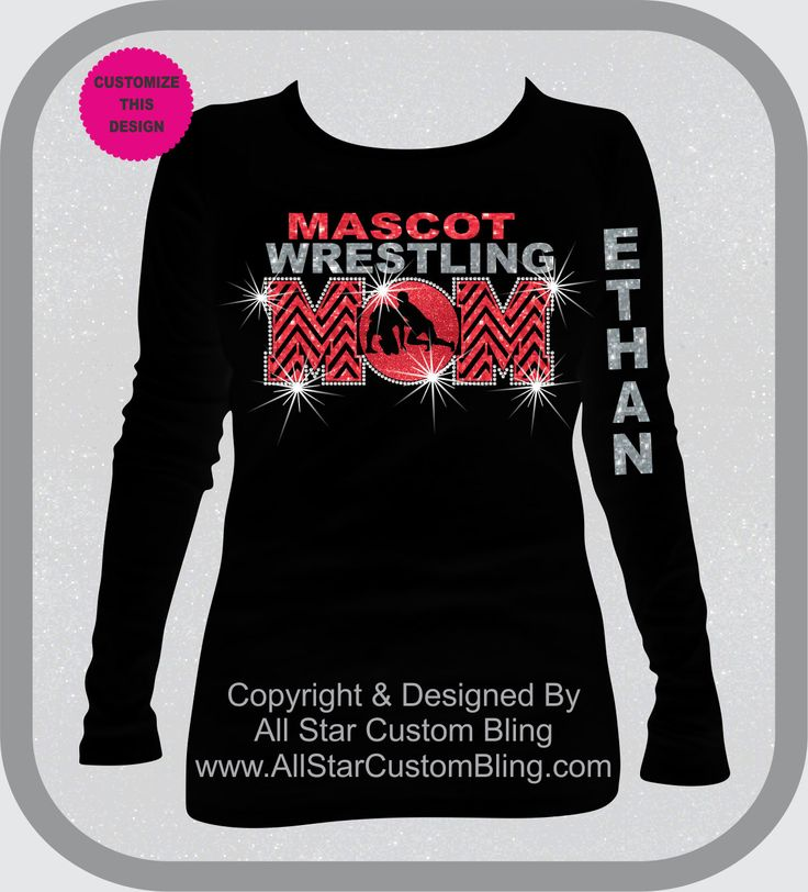 Wrestling Mom Chevron Glitter and Bling Rhinestone Shirt, Wrestling Mom Shirts, Bling Wrestling Mom Shirts by AllStarCustomBling on Etsy