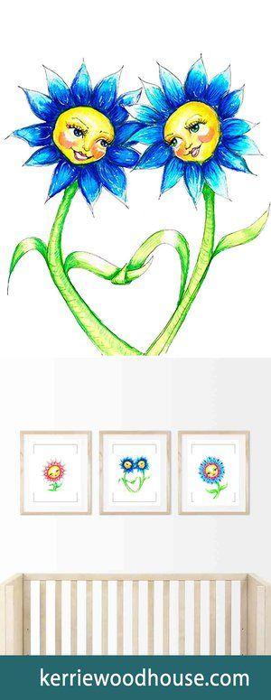 whimsical art print | kids decor | nursery art | blue print | cute print | girls room | flower | floral print | friends
