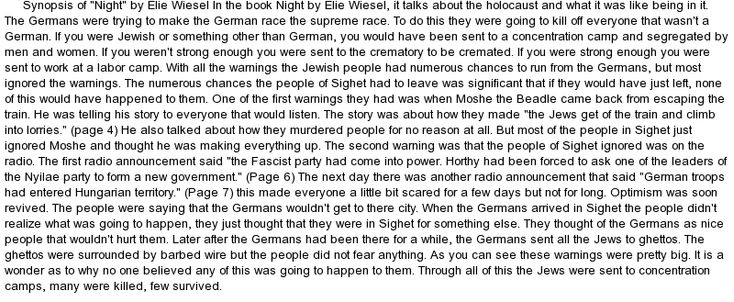 a commentary about silence as a tormentors advantage from the story night by elie wiesel More reasons why i don't believe elie wiesel is the author t remains unclear how much of wiesel's story is night, elie wiesel's devastating 1960.