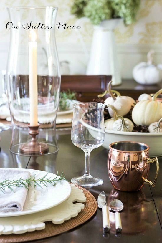 Copper Inspired Thanksgiving Table | Ideas and inspiration for your own Thanksgiving gathering. Table settings & 204 best HOME: Table Setting Ideas images on Pinterest | Decorating ...