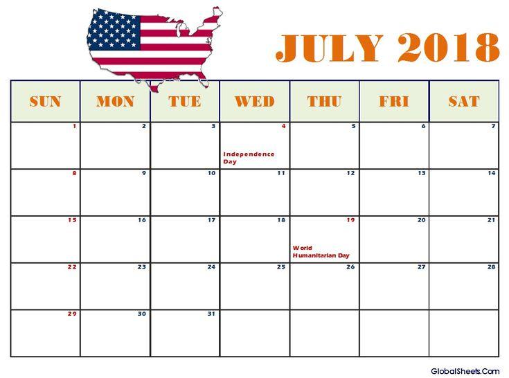 13 Best July 2018 Calendar Images On Pinterest