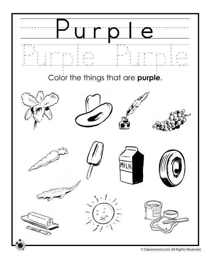learning colors worksheets for preschoolers color purple worksheet classroom jr