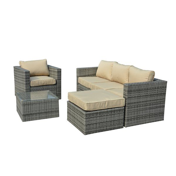 A woven-wicker design pairs with neutral cushions to round out this 4-piece seating group. use it to anchor your patio in contemporary style then pair it with a water-resistant pillow for a pop of pattern.