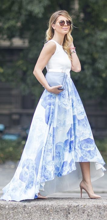 Blue And White Floral Rounded Hem Prom Maxi Skirt by Zorannah.