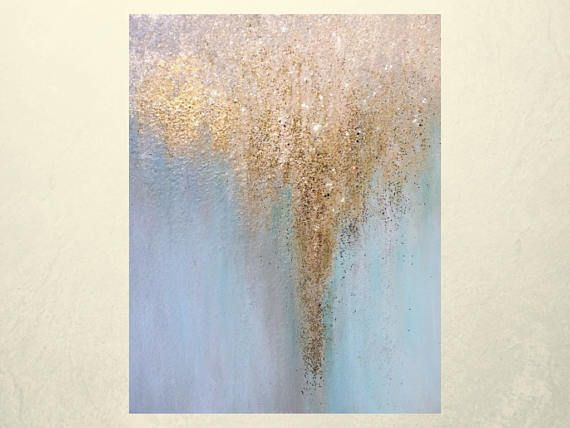 Abstract Glitter Art On Canvas Gold And Silver Glitter