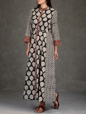 Black-Beige Natural Dyed Ajrakh-Printed Side Tie-Up Waist Cotton Maxi Dress