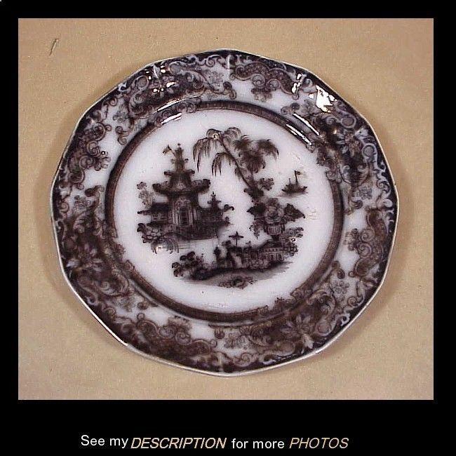 "Antique Podmore Walker Corean Flow Black Mulberry Ironstone 9-3/4"" Plate"