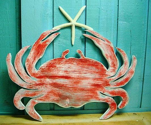Blue Crab Sign Starfish Beach House Sign Coastal Ocean Wall Art.
