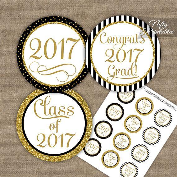 Graduation Cupcake Toppers - Black Gold Elegant 2017