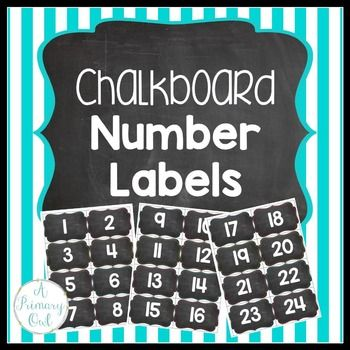 These cute chalkboard number labels are great for labeling your student's cubbies, backpack hooks or supplies. There are 6 different color dotted frames so they can match any classroom decor! Enjoy!