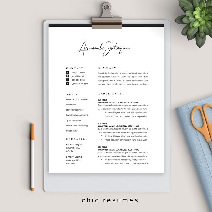 1Page Resume Template with Signature Header Resume