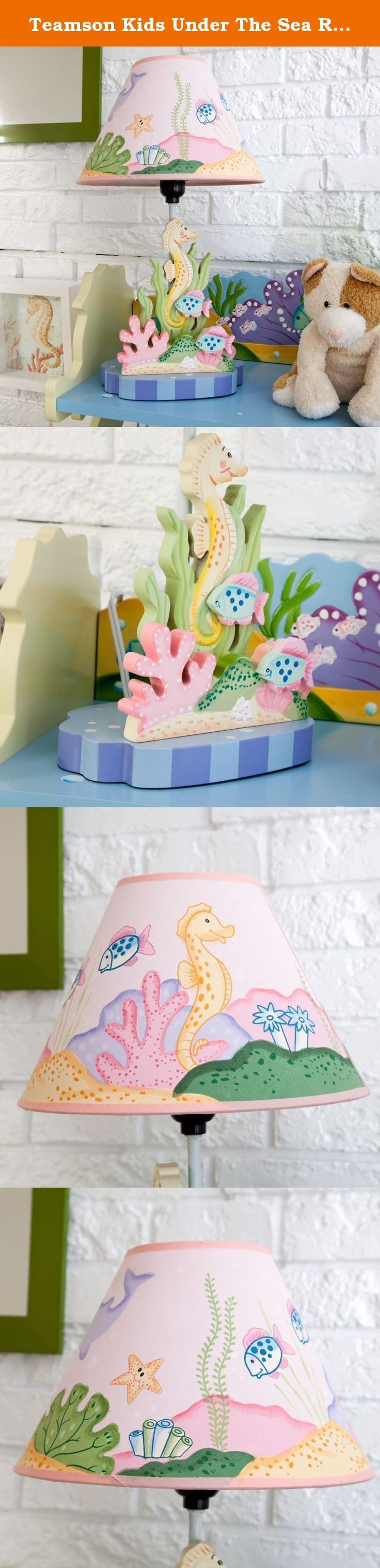 Teamson Kids Under The Sea Room Collection Table Lamp. Add an aquatic feel to your child's room with Fantasy Fields' Under the Sea Table Lamp. With a profusion of color and design, this lamp makes the perfect touch and brightens any nursery. The base features a hand painted golden yellow seahorse, seaweed, and tropical looking pink and blue fish. The lamp shade casts a mirrored effect of the base and assists the bulb in creating a soft glow to any room. Light bulb not included. No…