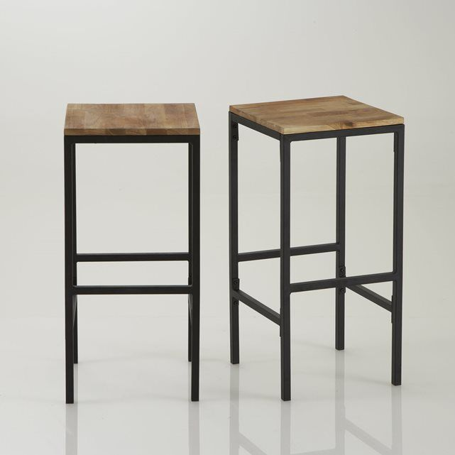 set of 2 hiba tall square bar stools la redoute interieurs price reviews and rating delivery. Black Bedroom Furniture Sets. Home Design Ideas