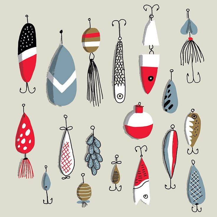 Vintage fishing lures. I'm not really into fishing; I just love the look of them. #fishing #illustration