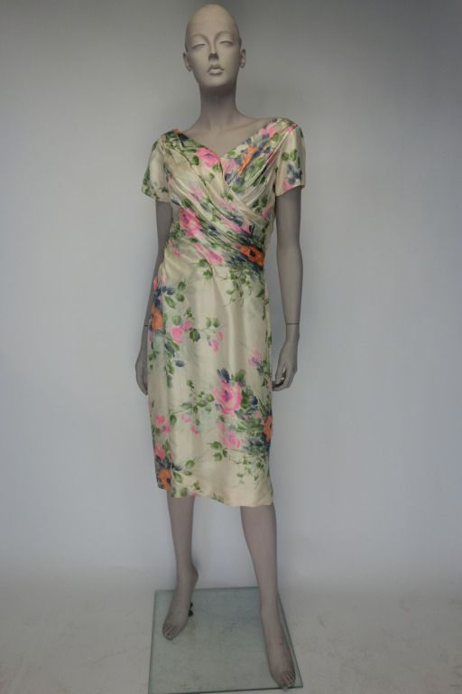 Ceil Chapman 1950s | From a collection of rare vintage day dresses at https://www.1stdibs.com/fashion/clothing/day-dresses/