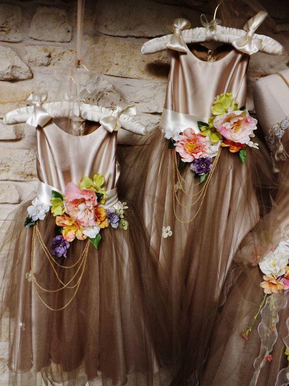 Made to Order Flower Girl Lace Up Back Dress Beige Tulle Skirt Satin Ribbons Bows Belts Flower Sashes Satin Tulle Dress