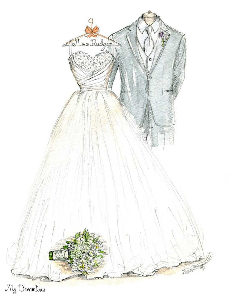 Wedding dress sketch for an anniversary gift, wedding gift and bridal shower gift. http://www.mydreamlines.com/