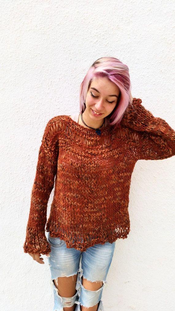 Women loose sweater copper jumper women knit sweater by EstherTg