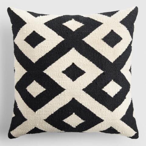 Black and Ivory Geometric Indoor Outdoor Throw Pillow | World Market