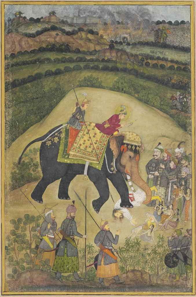 Akbar's victory over Hemu at the 2nd battle of Panipat