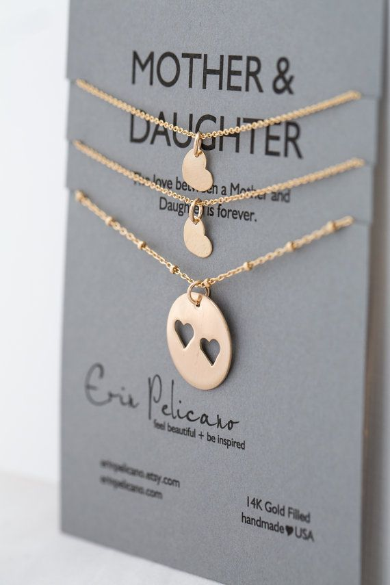 Mother Daughter Necklaces Gifts for Sisters Gift for Mom Mother of the Bride Mom Birthday Mom Necklace Twins Necklace Gold Hearts