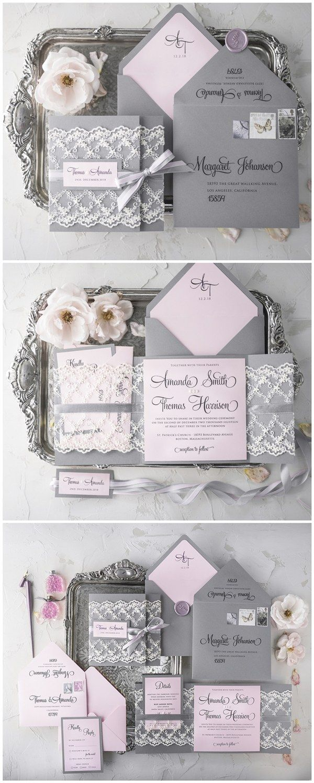 Pink And Grey Lace Wedding Invitations Rusticwedding Weddingcards Http
