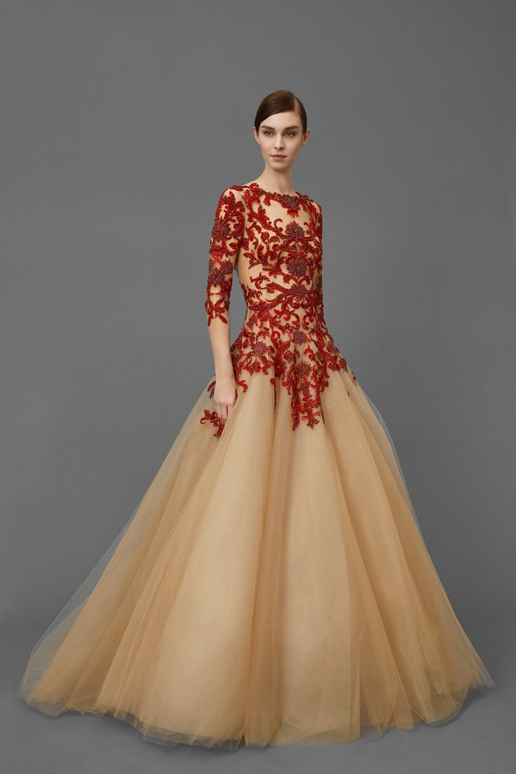 Golden and Red  Gown by Marchesa Pre-Fall 2016 Collection Photos - Vogue