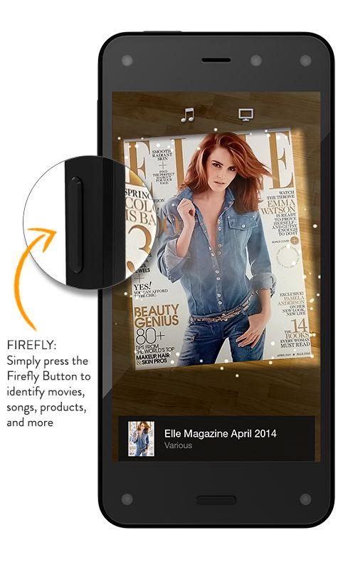 Amazon Fire Phone - 13MP Camera, 32GB - Shop Now Firefly technology Quickly identify printed web and email addresses, phone numbers, QR and bar codes, plus over 100 million items, including movies, TV episodes, songs, and products—simply press and hold the dedicated Firefly button to discover useful information and take action in seconds.