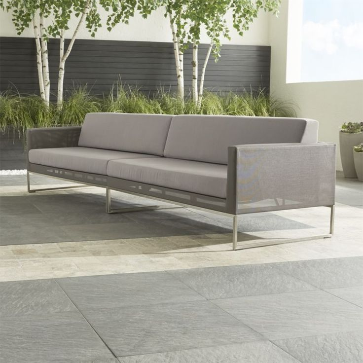 Shop Dune 2-Piece Sectional Sofa with Cushions.   The right arm loveseat and left arm loveseat create a long, elegant bench with a generous seating capacity.  Cushions have weather-resistant Sunbrella acrylic covers.