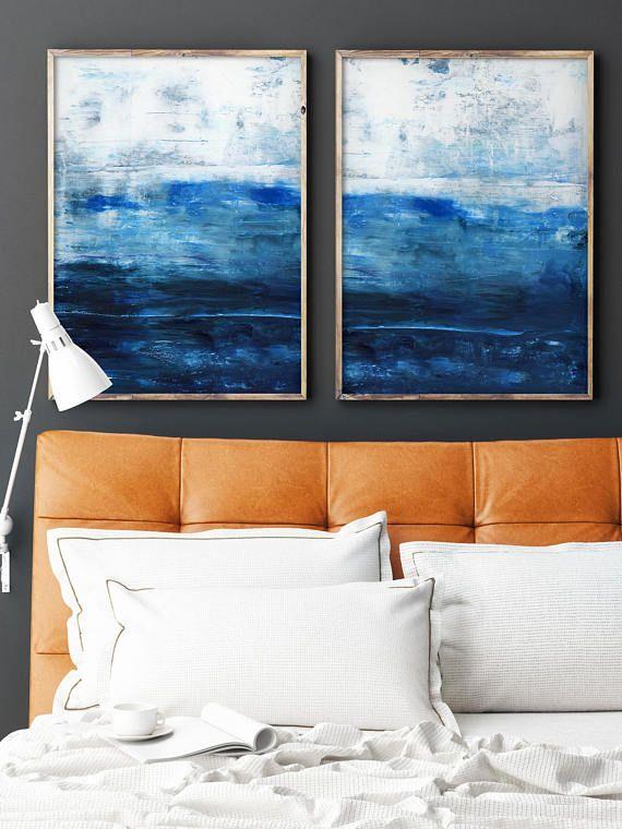 abstrakte malerei druck gicle des originellen wandkunst dunkelblau marine indigo wand - Familienwanddekorideen Fr Wohnzimmer
