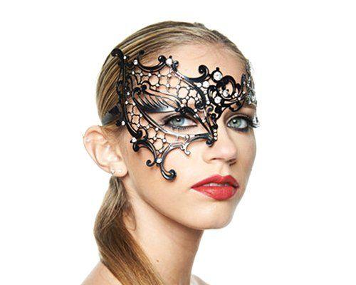 Laser Cut Metall Hälfte Gesicht Sexy Maske Augenmaske Tanzmaske Faschingsmasken mit Funkelnde Kristallen für Frauen/ Damen als Dekoration für Halloween Karneval Bälle Kostüm Cosplay Masquerade Partei Abendkleid Maskerade - Blau