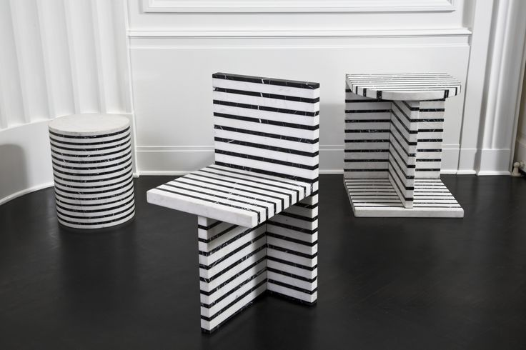KELLY WEARSTLER | LINEAGE SERIES. Marble Stool, Occasional Table and Chair. Made…