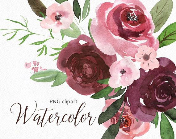 Watercolor Flower Clipart Png Vintage Boho Retro Floral Old