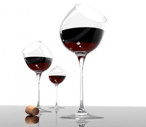 crazy tilt to these wineglasses -- imagine it'll freak some people out!