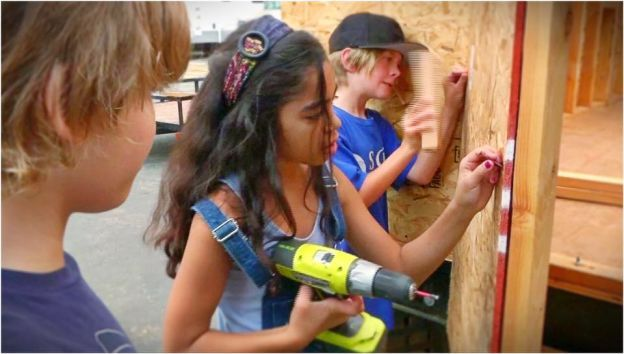 US West; Castaic, California; 4th - 5th grade - Santa Clarita Valley International Charter School. With the help of a local tiny house builder, students plan, fund, and construct a sustainable tiny house for a homeless veteran.