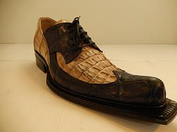 Mauri HornBack Crocodile Dress Shoe Blue & Beige