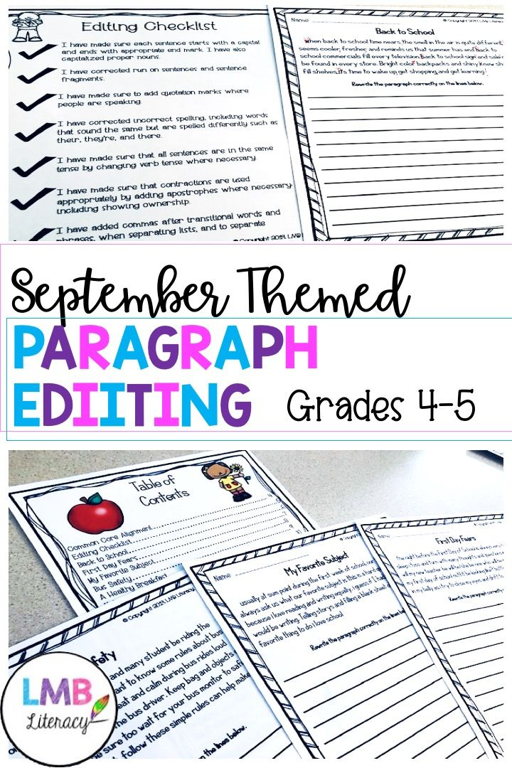 September Writing Paragraph Editing Worksheets For Grades 4 5 Teaching Writing Writing Rubric Persuasive Writing Paragraph editing worksheets grade 4