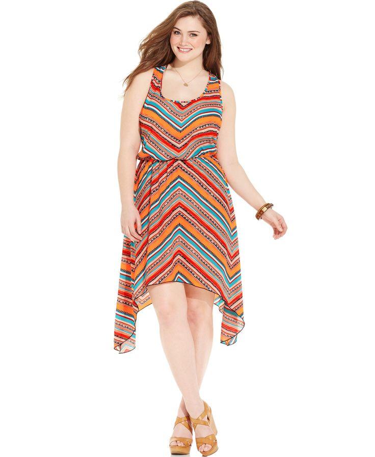 Love Squared Plus Size Chevron-Print Handkerchief-Hem Dress