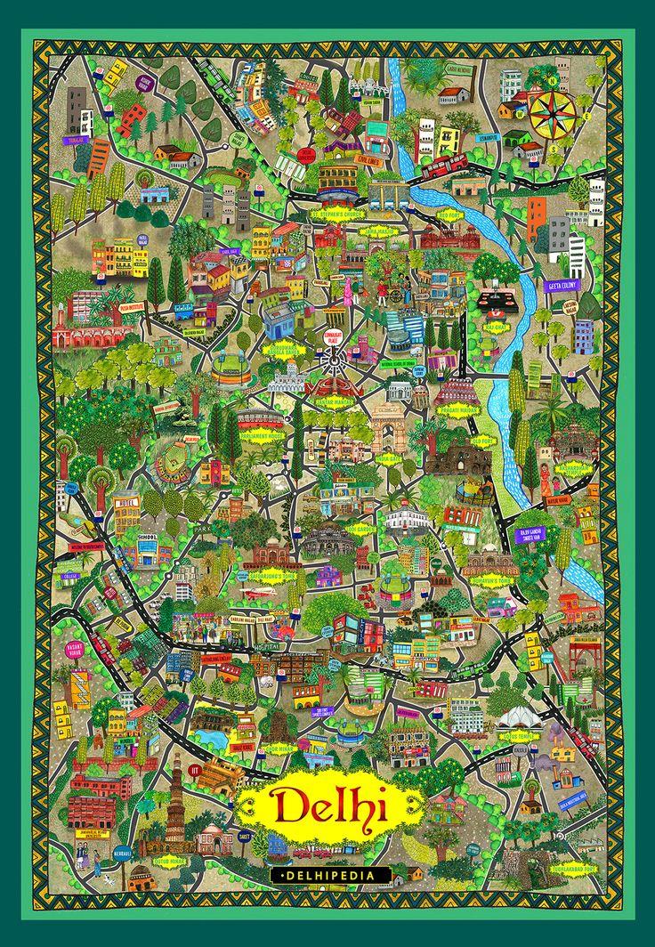 Illustrated Map of Delhi for Delhipedia by Vandana Singh