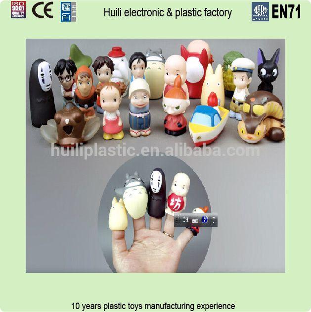 Costumbre hacer títeres de dedo y juguetes de la historia, OEM plástico de vinilo animal fingure títeres juguete de vinilo, títeres personalizados figura de acción