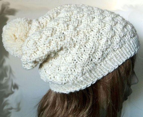 Knit Men's Hat in EcruKnit Women HatWarm by Need4KnitShop on Etsy