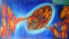 SALES Gedankenloslösung, 115x65cm, Öl auf Leinwand by manuwa