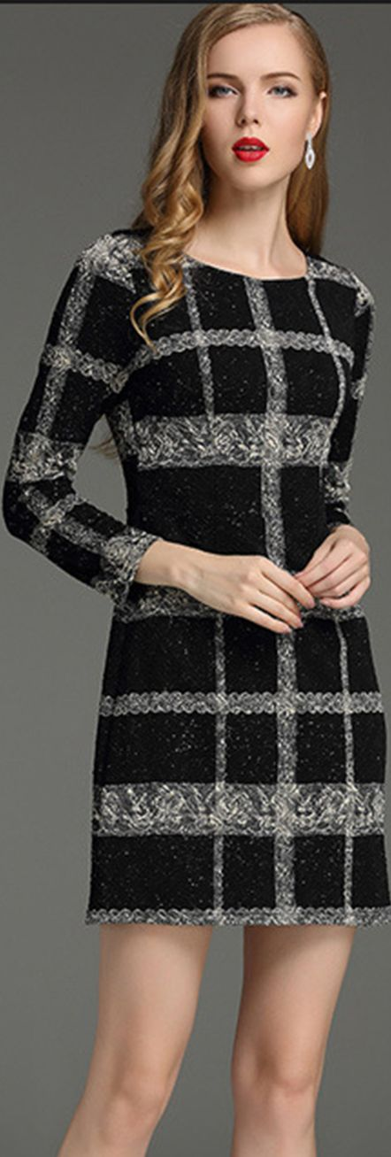 Black And Grey Plaid Dress