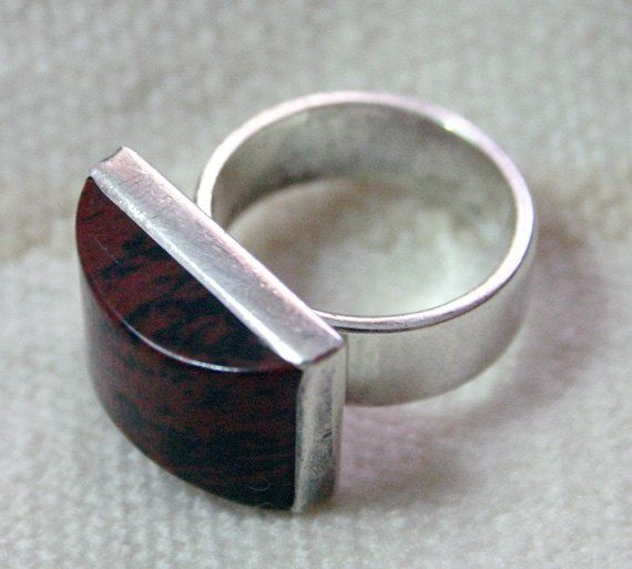 A nice pick to add to a list of cocktail rings!   Mexican Silver JASPER Square Ring by  BazaarCollections on Etsy, $47.00