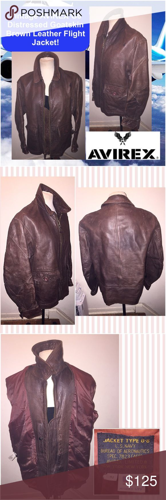 """Vtg AVIREX G8 Goatskin Leather Flight Jacket! Vintage Cool Avirex G8 Distressed Goatskin Brown Leather Flight Jacket! UNISEX 80's piece, brown goatskin leather, front zip, zip & button sleeves, dual entry pockets, wind flap, int snap pocket. Sz 42, Chest: 23"""" across (outside), Shoulder: 20"""" across, Sleeve: 31"""" (side of neck to sleeve end), Pit to sleeve end: 17 1/2"""", Waist: 44"""" around, Back length: 24. Missing 1 sleeve cuff button & belt was removed. Some ext scratches & wear - adds to cool…"""