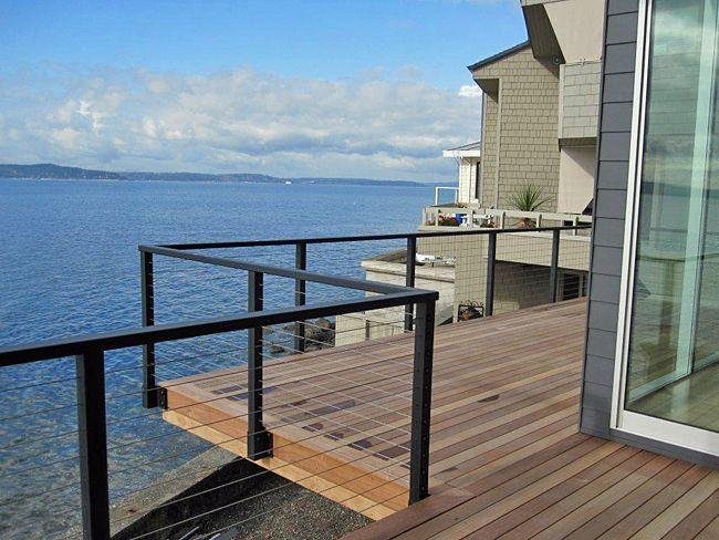 Series 200 cable railing, matte-black paint, fascia mounted