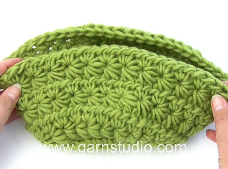 How to crochet the basket with star pattern in DROPS 152-34