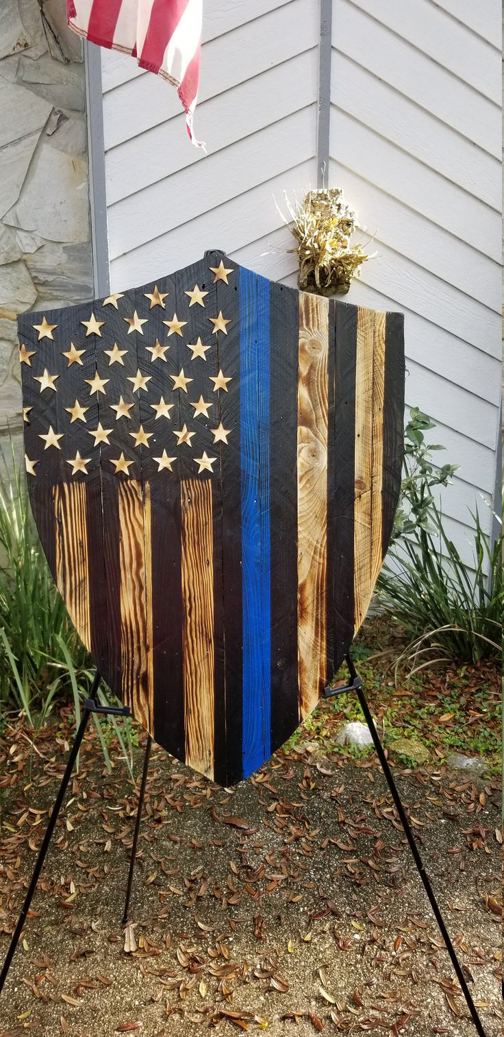 Rustic Wooden Thin Blue Line American Flag Shield