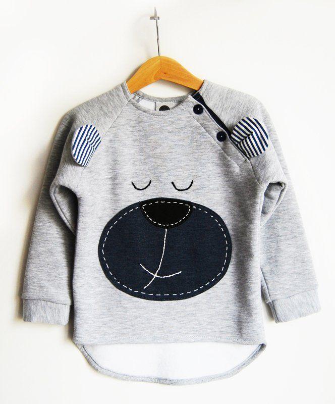 Misiek- ciepła dresowa bluza z naszytym misiem (proj. agagu), do kupienia w DecoBazaar.com